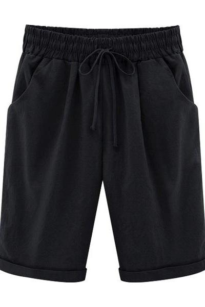 Plus Size Short,Summer Short,Woman Half Pants ,Mid Waist Short,Drawstring Short,Lady Short,Casual Short,Haren Short Trousers black