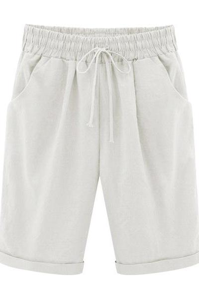 Plus Size Summer Woman Half Pants Mid Waist Drawstring Lady Casual Haren Short Trousers off white