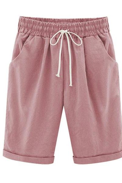 Plus Size Summer Woman Half Pants Mid Waist Drawstring Lady Casual Haren Short Trousers pink