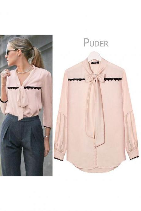 Women V Neck OL Office Blouse Long Sleeve Tie Bow Lace Casual Female Tops Shirt Apricot Pink