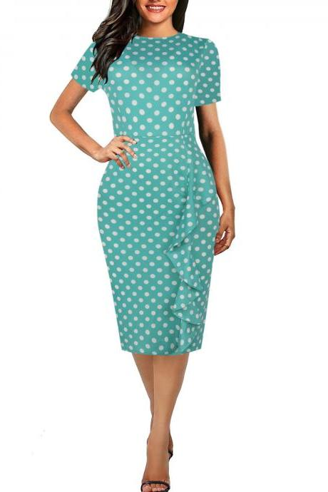 Vintage Polka Dot/Plaid Print Pencil Dress Short Sleeve Ruffled Slim Work OL Office Bodycon Party Dress 1#