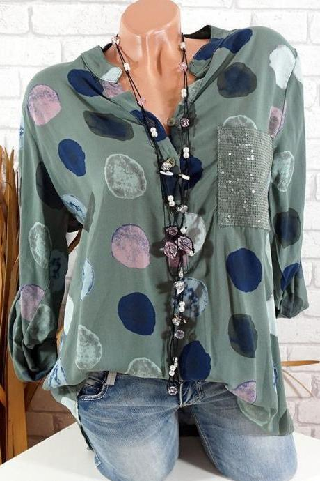 Women Polka Dot Blouse V Neck Long Sleeve Plus Size Casual Work Office Lady Tops Shirt army green