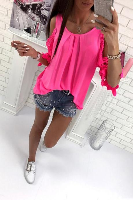 Women Blouse Summer 3/4 Sleeve Hollow Out Lace Patchwork Shirt Casual Off the Shoulder Boho Tops