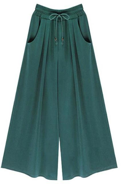 Women Wide Leg Pants Summer High Waist Pockets Office Plus Size Loose Casual Trousers green