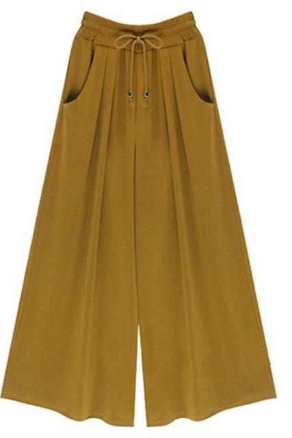 Women Wide Leg Pants Summer High Waist Pockets Office Plus Size Loose Casual Trousers yellow