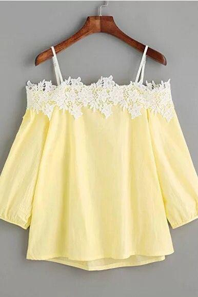 Women Off the Shoulder Lace Blouse Long Sleeve Spaghetti Strap Summer Tops Casual Shirts yellow