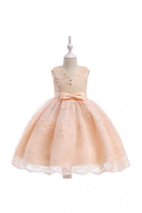 Lace Flower Girl Dress Button Bow Wedding Formal Birthday Party Children Clothes champagne