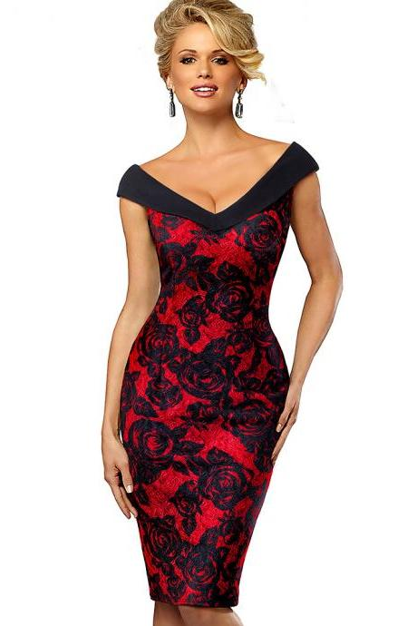 Women Floral Pencil Dress Sexy V Neck Sleeveless Sheath Bodycon Work Party Dress red