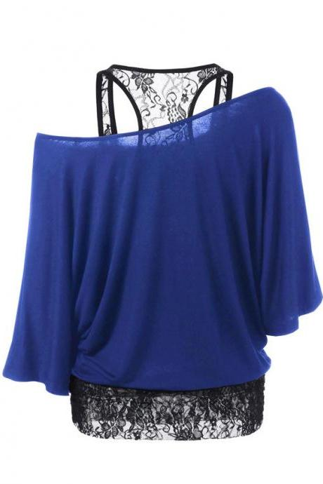Plus Size T Shirt Women Summer 2pcs Sets Batwing Sleeve Skew Collar Casual Loose Lace Tank Tops Tees blue