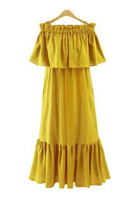 Yellow Off-The-Shoulder Ruffle Summer Beach Maxi Dress