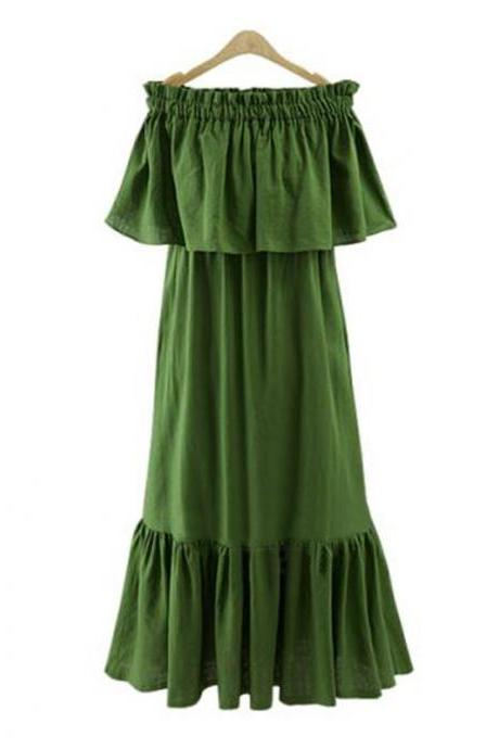 Green Off-The-Shoulder Ruffle Summer Beach Maxi Dress