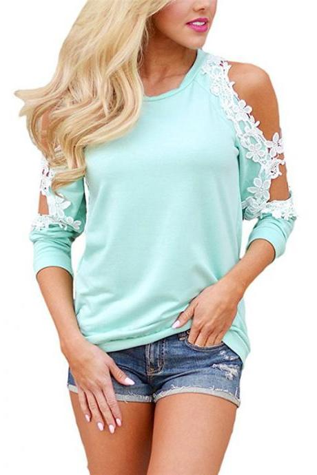 Off the Shoulder Top Blouse Women Casual Long Sleeve Hollow Lace Patchwork T-Shirt aqua