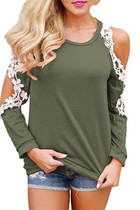 Off the Shoulder Top Blouse Women Casual Long Sleeve Hollow Lace Patchwork T-Shirt army green