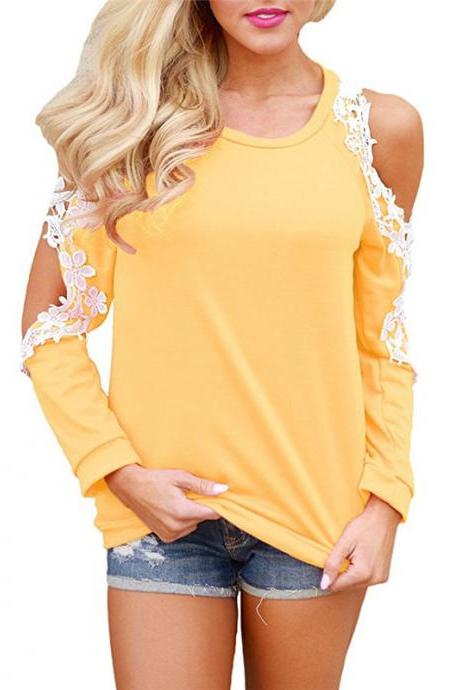 Off the Shoulder Top Blouse Women Casual Long Sleeve Hollow Lace Patchwork T-Shirt yellow