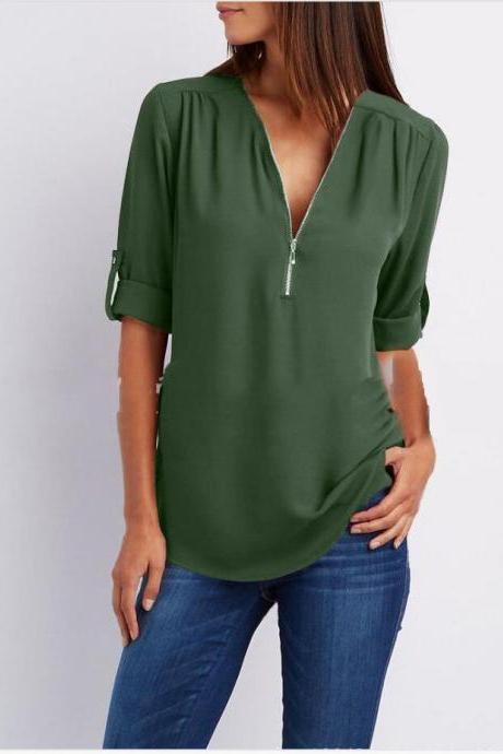 Sexy V Neck Chiffon Blouse Long Sleeve Zipper Plus Size Streetwear Casual Loose Top T-Shirt army green