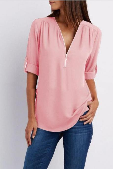 Sexy V Neck Chiffon Blouse Long Sleeve Zipper Plus Size Streetwear Casual Loose Top T-Shirt pink