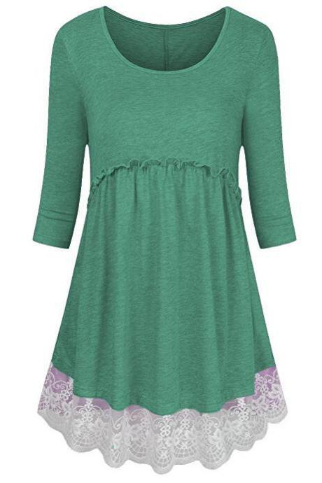 Women Tunic Blouse Cotton Half Sleeve Casual Lace Patchwork Peplum Tops T-Shirt green