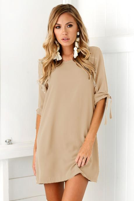 Women Casual T Shirt Dress Half Sleeve Beach Summer Loose Mini Club Party Dress khaki