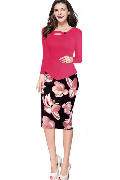Women Floral Print Patchwork Pencil Dress Half/Long Sleeve Plus Size Slim Work OL Office Bodycon Party Dress 15#