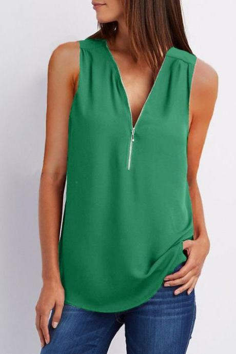 Sexy V Neck Chiffon Sleeveless Shirt Zipper Plus Size Blouse Loose Casual Top Vest green