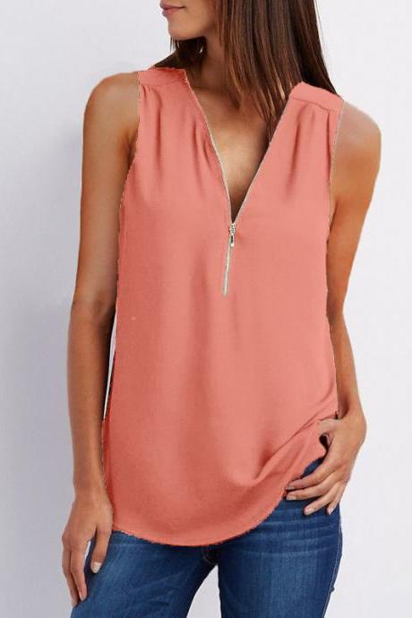 Sexy V Neck Chiffon Sleeveless Shirt Zipper Plus Size Blouse Loose Casual Top Vest orange