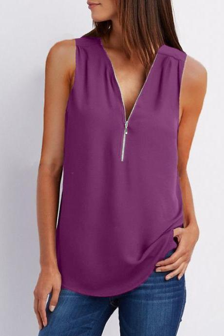 Sexy V Neck Chiffon Sleeveless Shirt Zipper Plus Size Blouse Loose Casual Top Vest purple