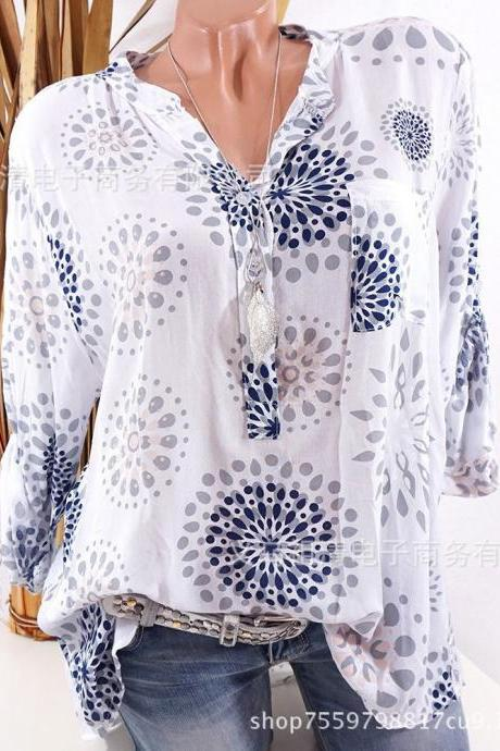 Plus Size Women Blouse V Neck Long Sleeve Button Printed Casual Tops Loose Shirt off white