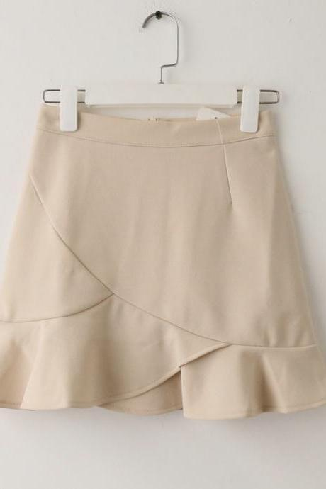 Women Mini Wrap Skirt High Waist Summer Bodycon Ruffle Asymmetrical Skinny Short Casual Skirt apricot