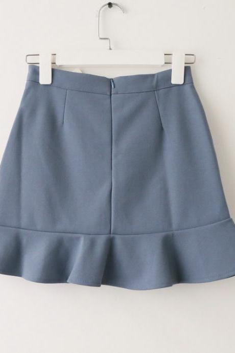 Women Mini Wrap Skirt High Waist Summer Bodycon Ruffle Asymmetrical Skinny Short Casual Skirt blue