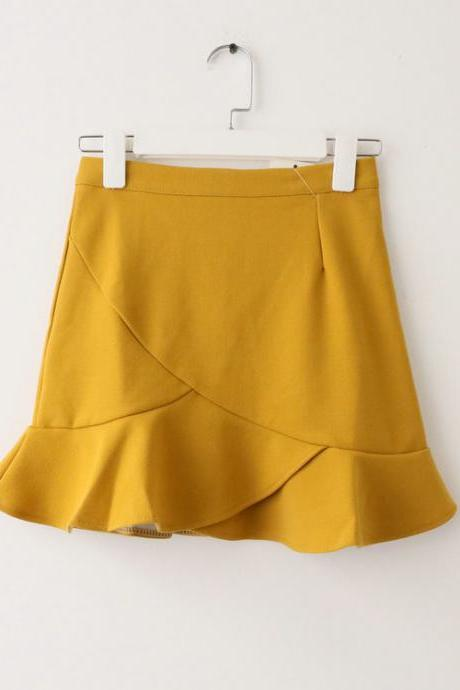 Women Mini Wrap Skirt High Waist Summer Bodycon Ruffle Asymmetrical Skinny Short Casual Skirt yellow