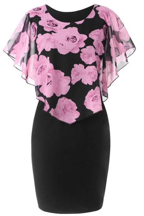 Women Bodycon Pencil Dress Summer Plus Size Cloak Sleeve Rose Printed Mini Club Party Dress pink