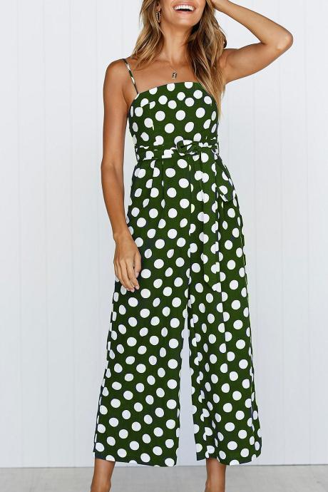 Women Polka Dot Jumpsuit Spaghetti Strap Summer Casual Beach Long Playsuit Wide Leg Romper Overalls green