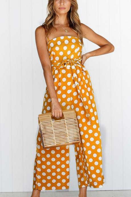 Women Polka Dot Jumpsuit Spaghetti Strap Summer Casual Beach Long Playsuit Wide Leg Romper Overalls yellow