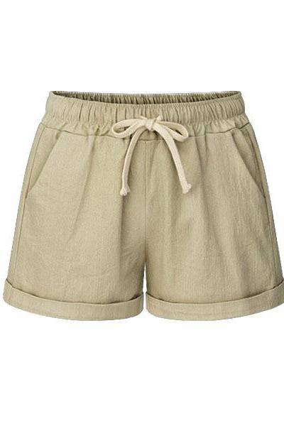 Plus Size Women Shorts Drawstring Mid Waist Loose Summer Casual Mini Harem Shorts khaki