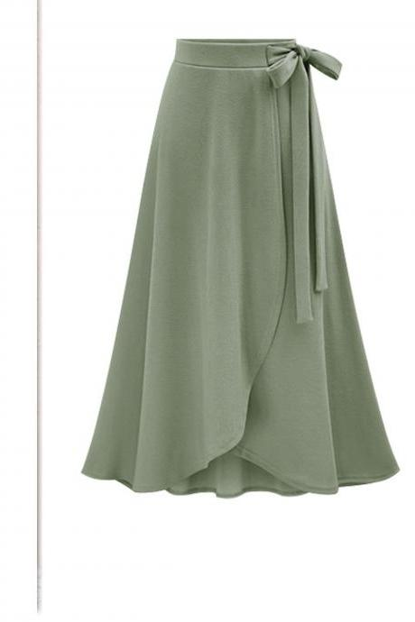 Women Asymmetrical Split Skirt High Waist Bow Party Midi A Line Skirt army green