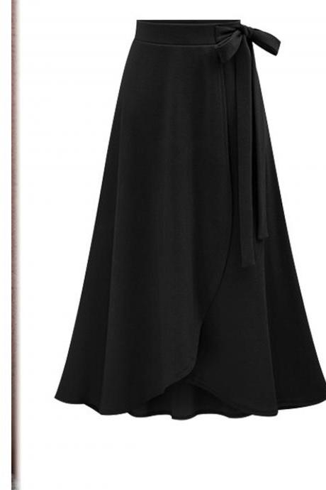 Women Asymmetrical Split Skirt High Waist Bow Party Midi A Line Skirt black