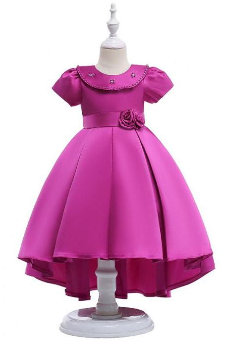High Low Flower Girl Dress Short Sleeve Birthday Formal Party Gown Children Clothes fuchsia