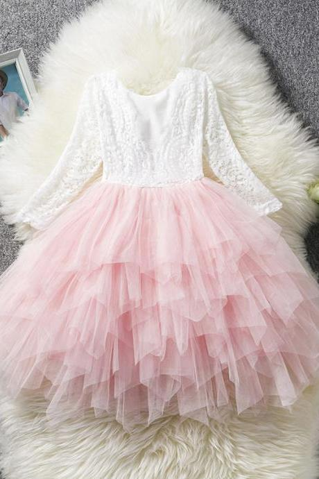 Lace Flower Girl Dress Long Sleeve Kid Birthday Party Wedding Tutu Gown Children Clothes pink