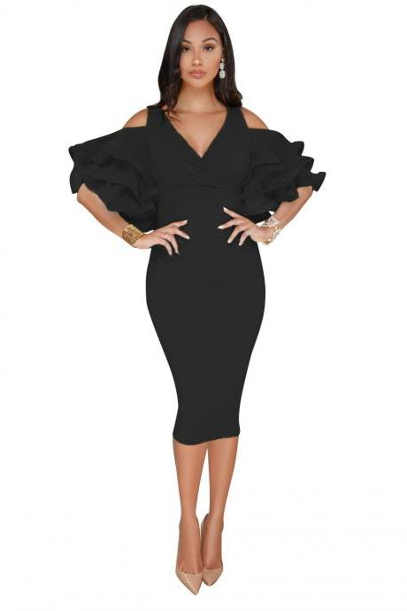 Sexy Bodycon Party Dress V Neck Ruffles Sleeve Split Off The Shoulder Slim Women Pencil Dress black