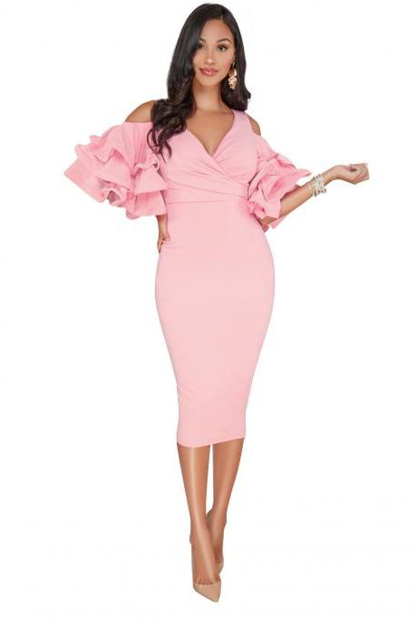 Sexy Bodycon Party Dress V Neck Ruffles Sleeve Split Off The Shoulder Slim Women Pencil Dress pink