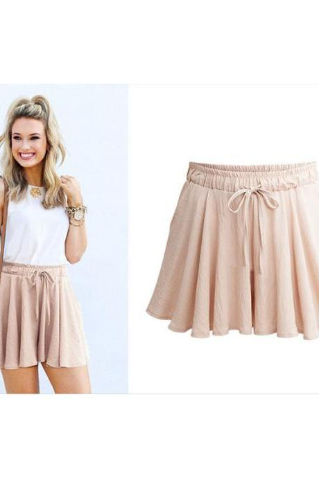Summer Women Wide Leg Shorts Plus Size Casual Drawstring High Waist Loose Short Pants apricot
