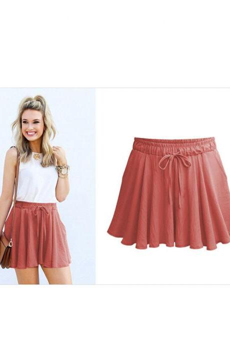 Summer Women Wide Leg Shorts Plus Size Casual Drawstring High Waist Loose Short Pants Brick red