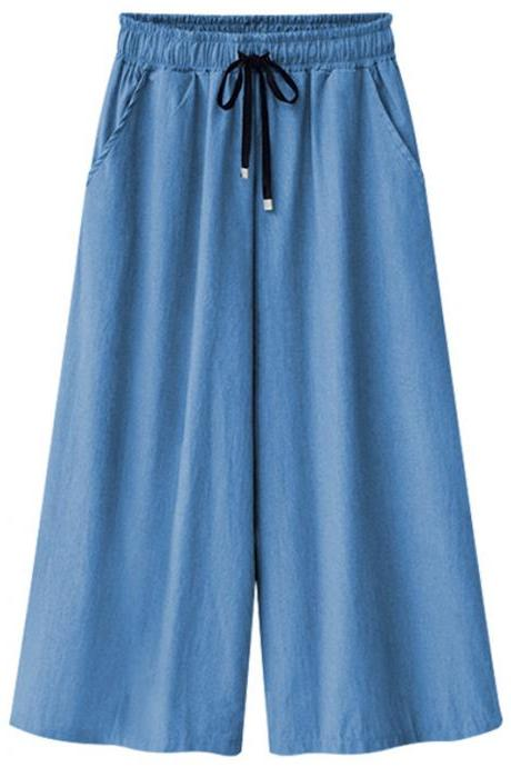 Women Denim Wide Leg Pants Summer Plus Size Drawstring Elastic Waist Casual Loose Jeans Trousers light blue