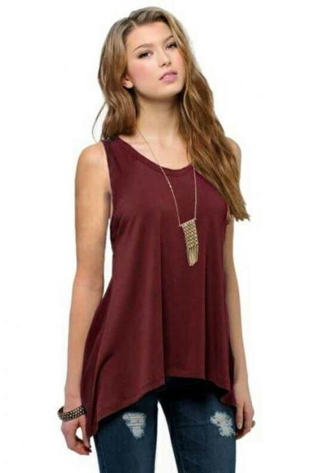 Burgundy Basic Sleeveless V Neck Loose Asymmetrical Tank Top, Plus Size Blouse