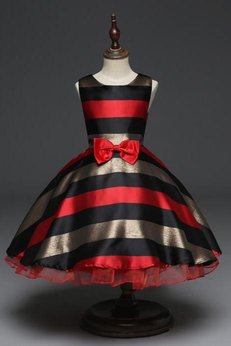 Striped Flower Girl Dress Princess Kids Party Prom Formal Gown Children Clothes red