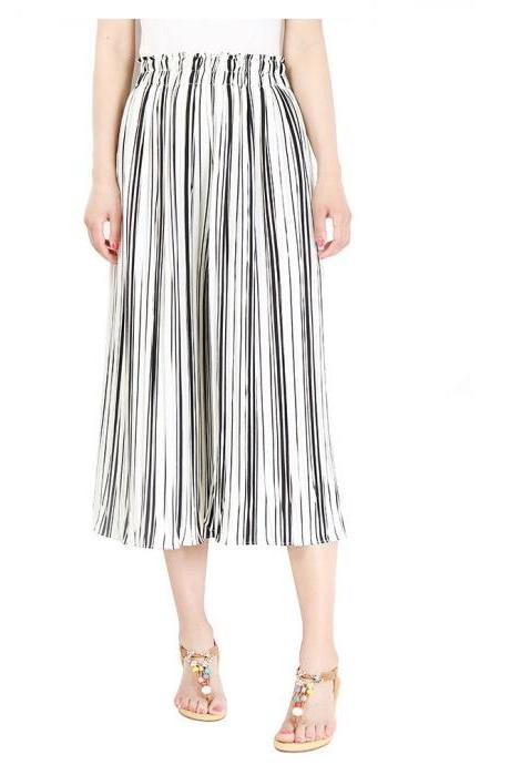 Women Striped Wide Leg Pants Loose High Waist Summer Beach Casual Pleated Trousers white