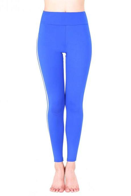 Women Yoga Striped Patchwork Leggings Slim High Waist Sports Fitness Gym Running Pants blue