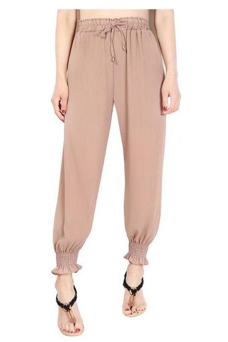Women Chiffon Harem Pants Drawstring OL High Waist Casual Summer Loose Trousers khaki