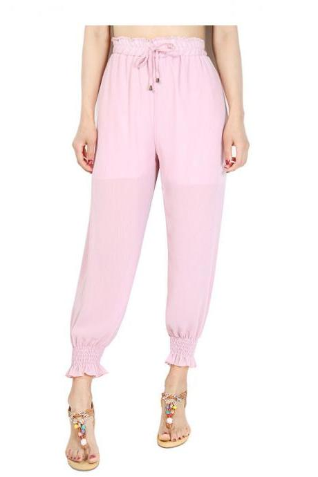 Women Chiffon Harem Pants Drawstring OL High Waist Casual Summer Loose Trousers pink