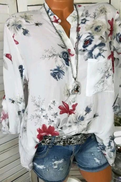 Women Shirt Floral Printed Long Sleeve V Neck Plus Size Casual Loose Tops Blouse off white